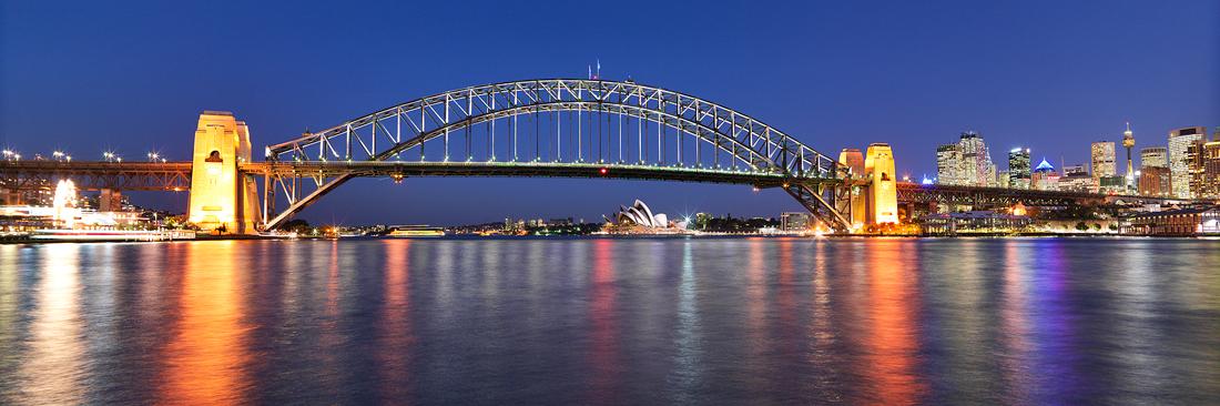 Sydney Harbour Bridge and Opera House at Night, Australia ...